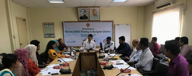 Workshop on Review EMEN Piloting in Kurigram District at HEU Conference Room, September 2018